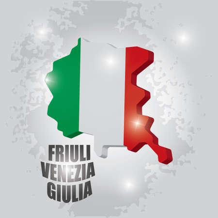 フリウリ ヴェネツィア ジュリア地図  イラスト・ベクター素材