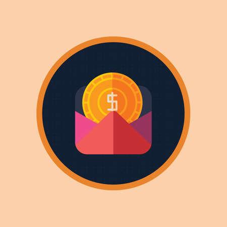 mail icon with dollar Çizim