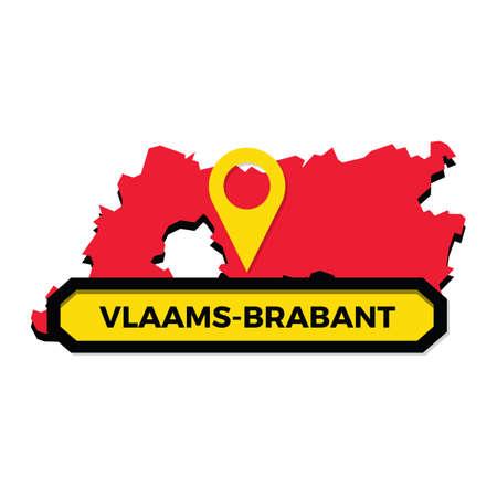 지도 포인터가있는 Vlaams-brabant지도 일러스트