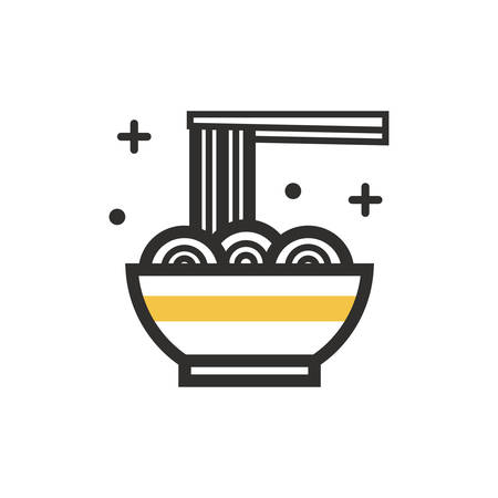 noodles bowl and chopsticks Illustration