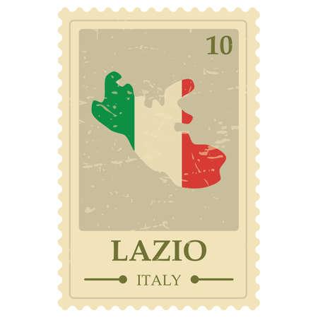lazio map postage stamp