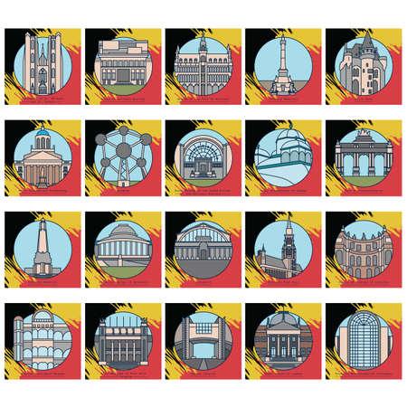 Set of belgium landmarks