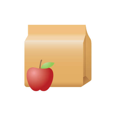 An apple and paper bag illustration.