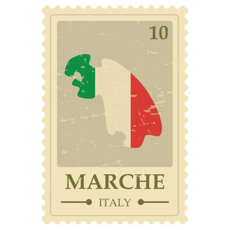 Marche map postage stamp 向量圖像