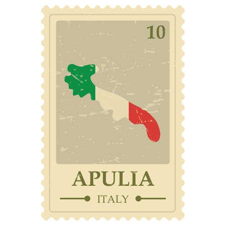 Apulia map postage stamp
