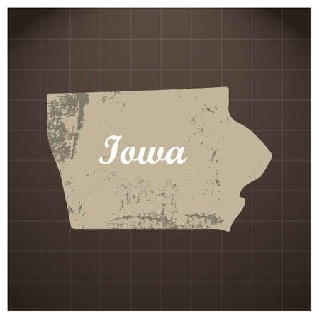アイオワ州地図  イラスト・ベクター素材