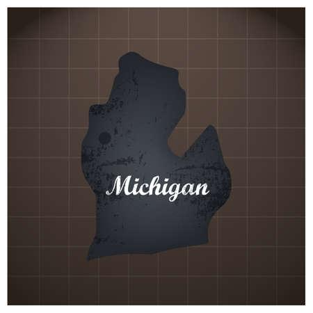 ミシガン州地図  イラスト・ベクター素材