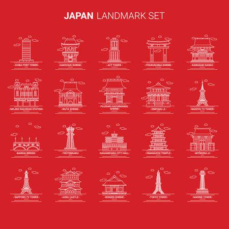 set of japan landmarks