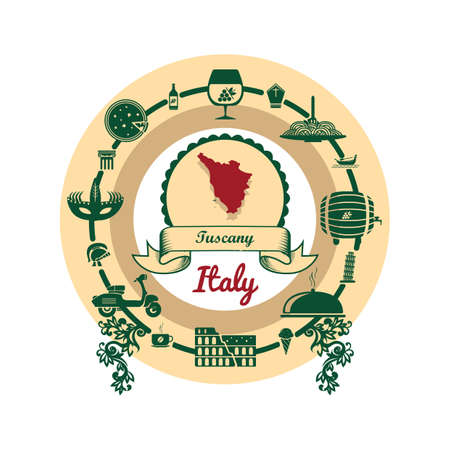 tuscany map label Illustration