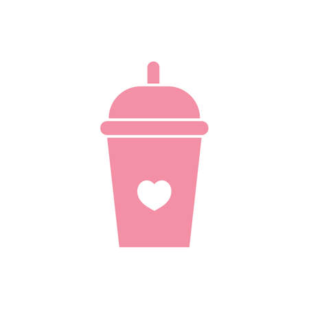 takeaway cup with heart symbol