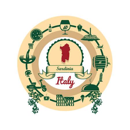 Sardinië kaart label