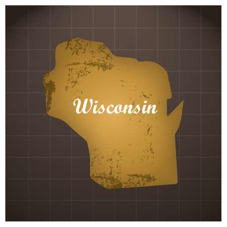 ウィスコンシン州地図  イラスト・ベクター素材