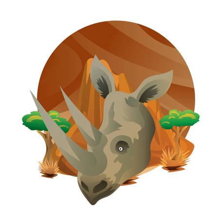 코뿔소 머리 그림입니다. 일러스트