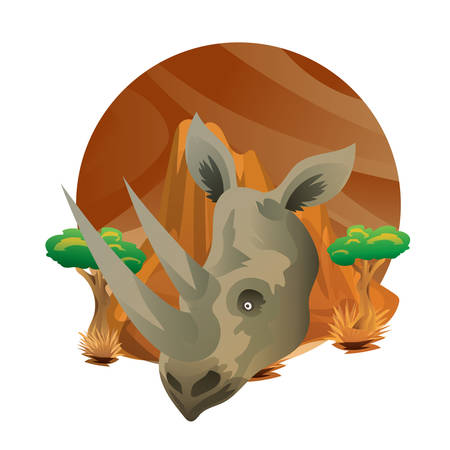 A rhinoceros head  illustration. Çizim