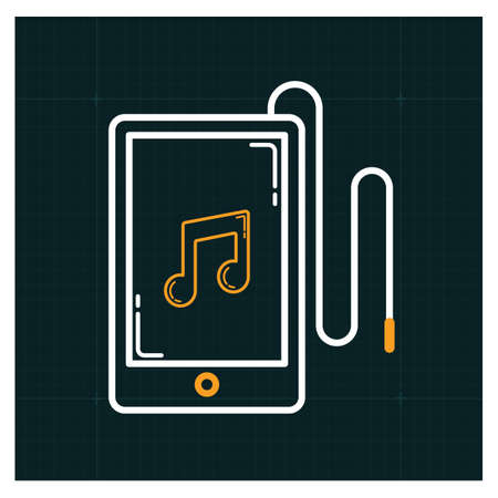 A smartphone with music icon illustration. Illustration