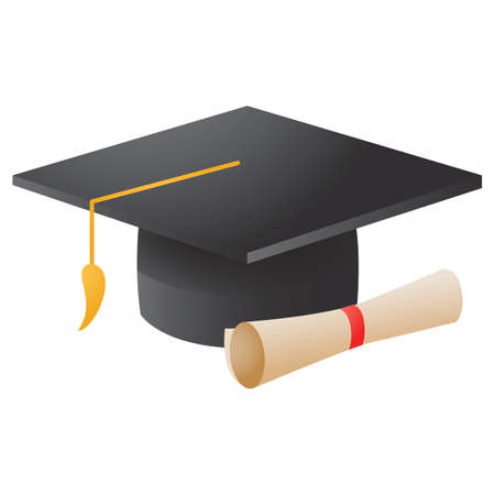 A mortarboard with scroll illustration.