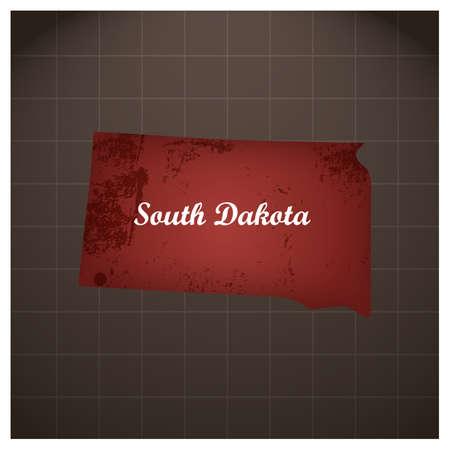 サウス ・ ダコタ州地図  イラスト・ベクター素材