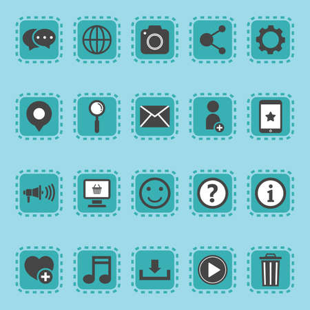 favourite: A set of social media icons illustration.