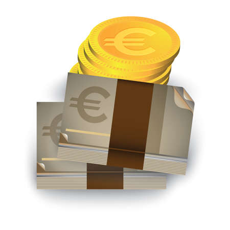 Billetes y monedas en euros Foto de archivo - 81589697