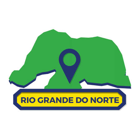 rio grande do norte map with map pin Ilustrace