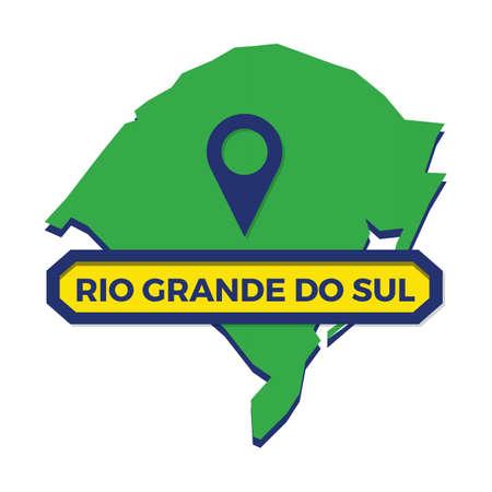 rio grande do sul map with map pin