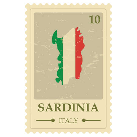 Sardinia map postage stamp 向量圖像