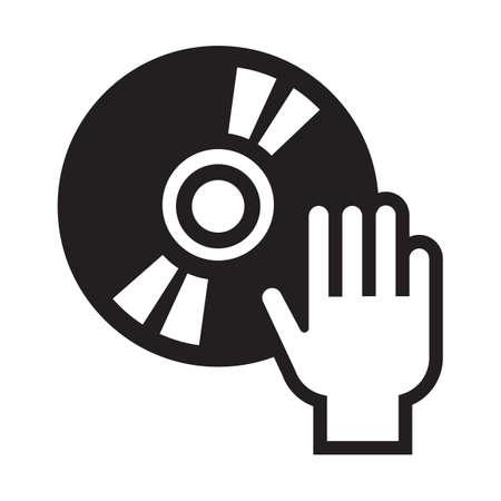 Hand auf Schallplatte Vektorgrafik