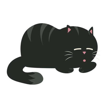 black cat sleeping Иллюстрация
