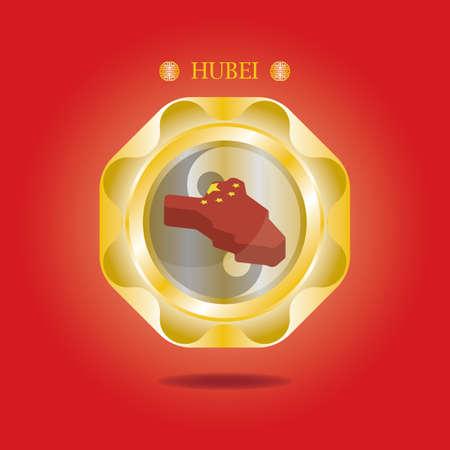 hubei map  イラスト・ベクター素材