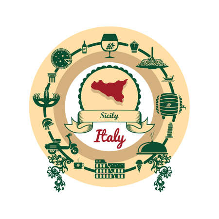 sicily map label Illustration