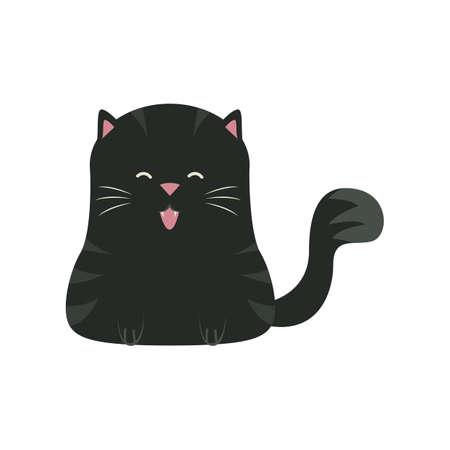 black cat sitting Illusztráció