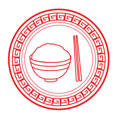 bowl of rice with chopsticks Illustration