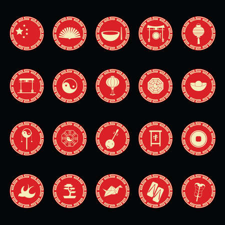 collection of chinese icons Illustration