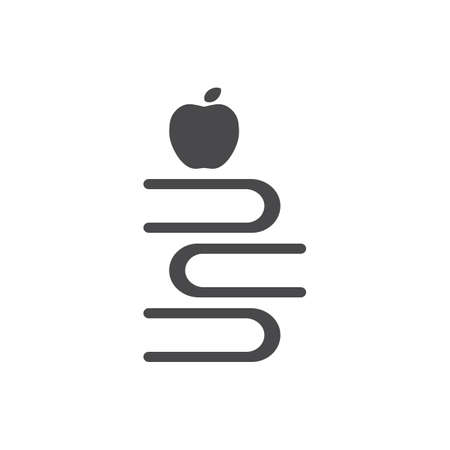 apple with stack of books