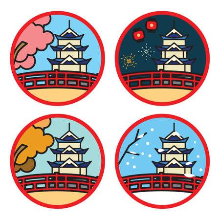 set of japan pagoda bridge