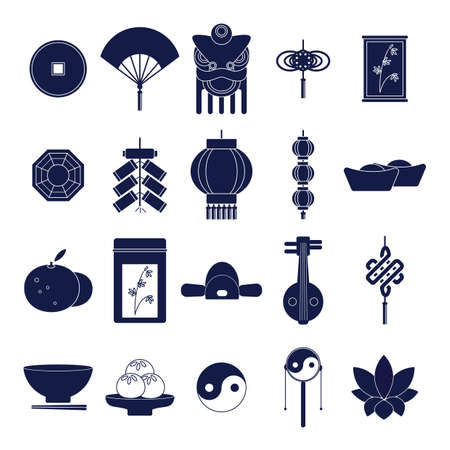 collection of chinese icons Иллюстрация