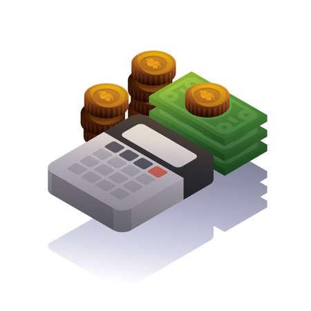 달러 지폐와 계산기와 동전