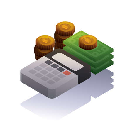 Dollar bills and coins with calculator