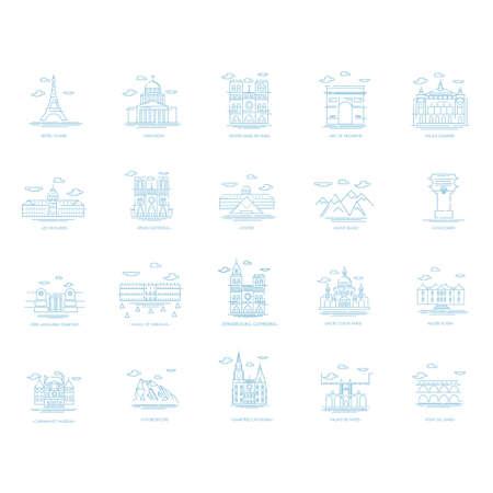 blanc: set of france landmarks icons