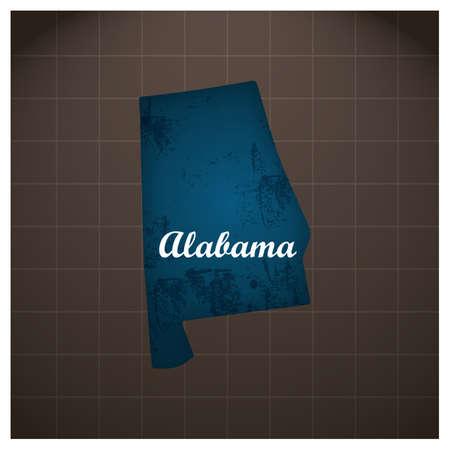 アラバマ州地図  イラスト・ベクター素材