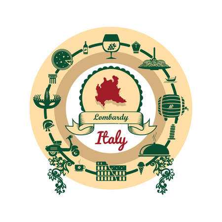 lombardy map label Illustration