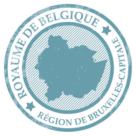Region de bruxelles capitale map rubber stamp