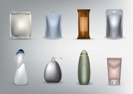 conjunto de paquetes cosméticos
