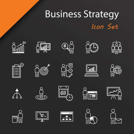 set of business strategy icons Иллюстрация
