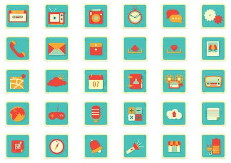 mobile app icon set Illustration