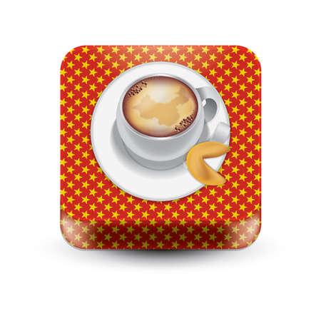 포춘 쿠키가있는 커피 일러스트
