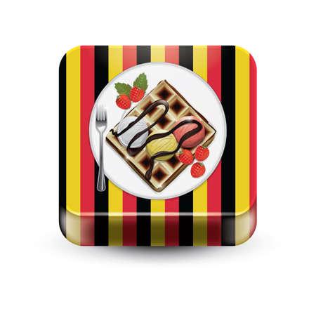 Waffle with ice cream Ilustração