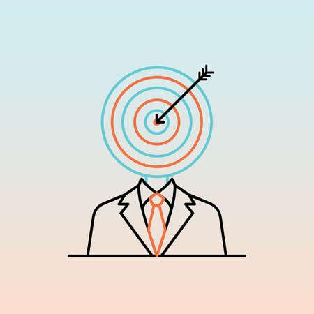 businessman with dartboard head Иллюстрация
