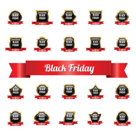 collection of black friday sale labels Illustration