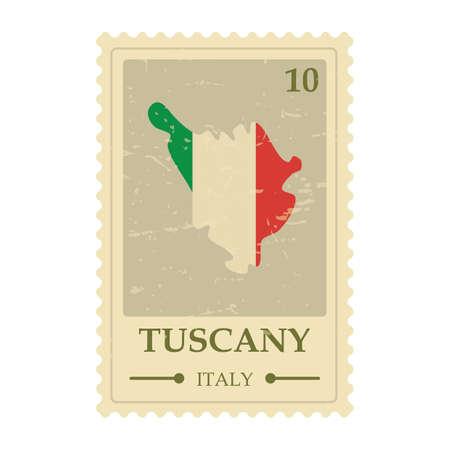 De kaartpostzegel van Toscanië